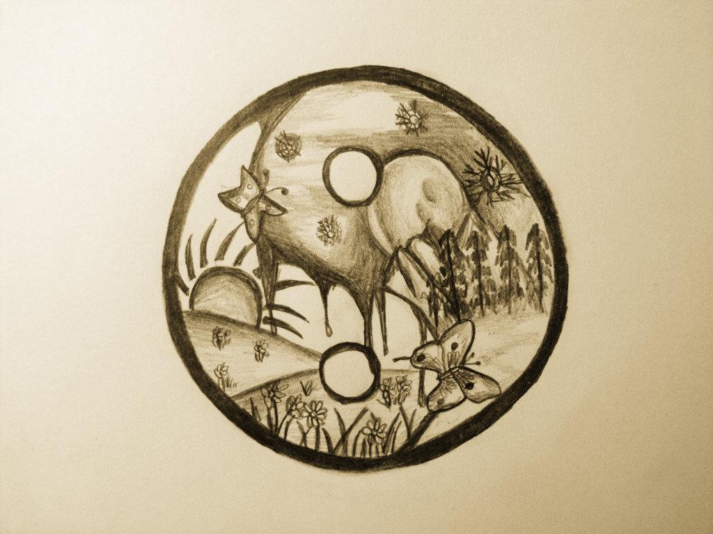 Summer winter ying yang tattoo